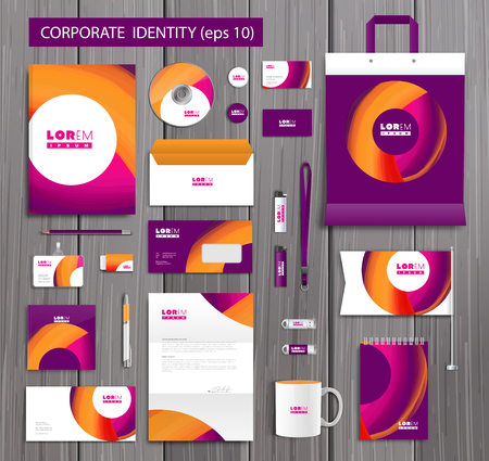 company background: White corporate id template design with stylish design and yellow, pink abstract elements. Documentation for business.  Illustration