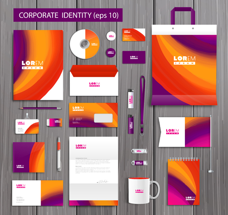 stationery background: White corporate id template design with stylish design and yellow, pink, orange abstract elements. Documentation for business. Illustration