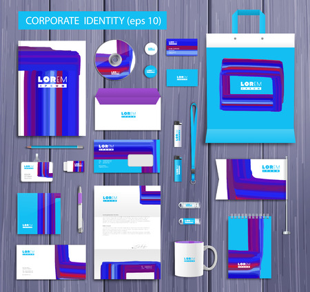 company background: White corporate identity template design with stylish design and blue, violet  abstract elements. Documentation for business.