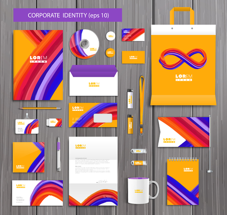 company background: White corporate identity template design with stylish design and yellow, red, pink  abstract bruch elements. Documentation for business.