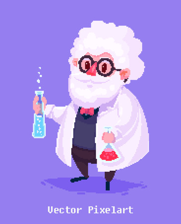 funny cartoon: Pixel art. Funny  illustration of old scientist. Cartoon character.