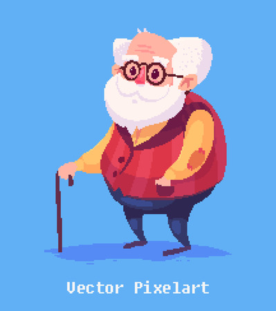 Pixel art. Funny  illustration of  old man . Cartoon character. Ilustração