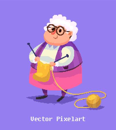 pensionado: arte del pixel. Ilustración divertida de la mujer mayor. Personaje animado.