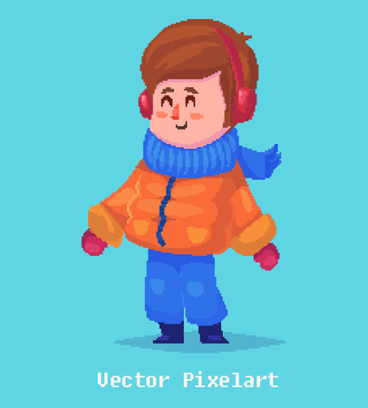young boy smiling: Pixel art. Funny  illustration of kid. Cartoon character.