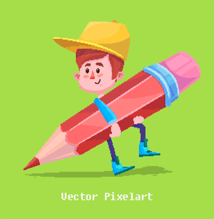 smart boy: Pixel art. Funny  illustration of boy with pencil. Cartoon character.