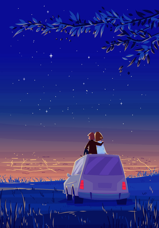 Two Happy lovers sitting on the roof of the car and look at the city at night.