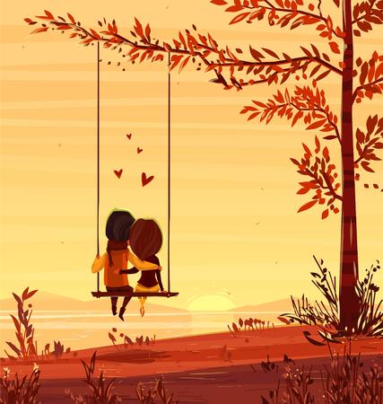 siluetas de enamorados: Dos amantes sentado en un columpio en la puesta del sol en el océano. El diseño moderno elegante ilustración. Tarjeta del día de San Valentín.