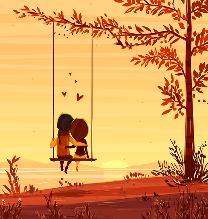 couples: Two lovers sitting on a swing at sunset on the ocean. Modern design stylish illustration. Valentines Day Card.