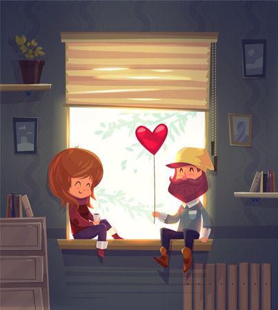 Two lovers sitting on the windowsill in an apartment. Through the window the sun is shining. Modern design stylish illustration. Retro flat background. Valentines Day Card.