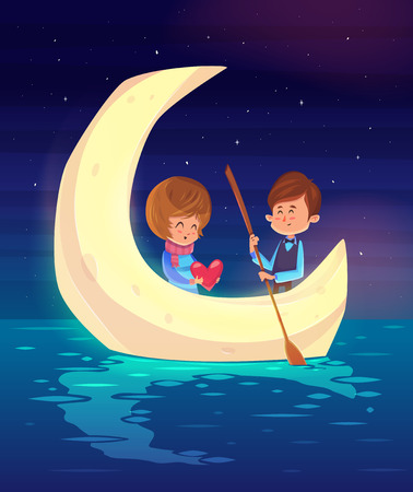 boy sitting: Couple girl and boy sitting in a boat on the background of the moon. Modern design stylish illustration. Retro flat background. Valentines Day Card.