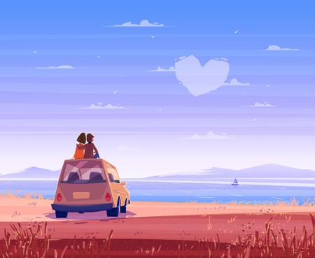 로맨스: 두 행복한 연인 자동차의 지붕에 앉아 바다를 보면. 현대적인 디자인 세련된 그림입니다. 레트로 평면 배경입니다. 발렌타인 데이 카드.