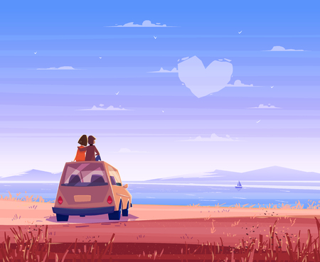 hugs and kisses: Two Happy lovers sitting on the roof of the car and look at the sea. Modern design stylish illustration. Retro flat background. Valentines Day Card.