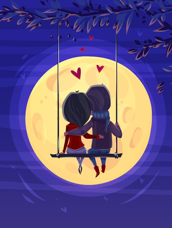 Two lovers sitting on the swing on the moon background. Modern design stylish illustration. Retro flat background. Valentines Day Card. Vettoriali