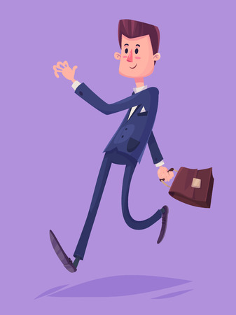 consultant: Funny  cartoon illustration of  business man. Man runs to meet or a work. Vector cute character. Isolated vector illustration. Illustration