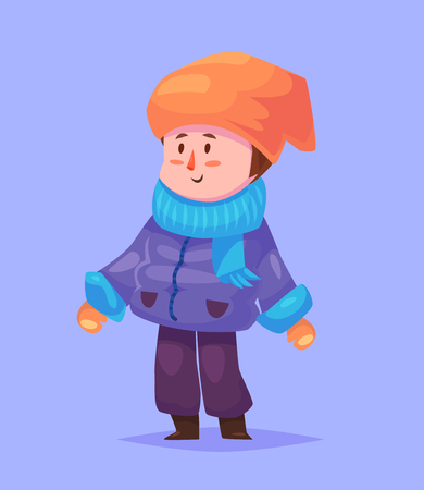 young boy smiling: Funny  illustration of cute boy. Vector cartoon character. Isolated on violet backgound.