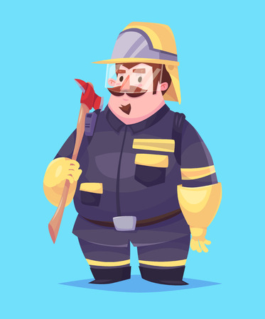 fire protection: Funny  illustration of cute fireman. Vector cartoon character. Isolated on blue backgound.