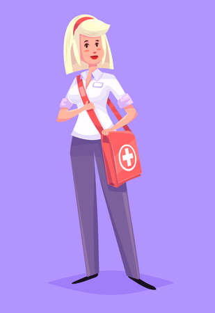 nurse uniform: Funny  illustration of cute doctor or medic woman. Vector cartoon character. Isolated on violet backgound.