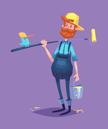 work clothes: Funny  illustration of cute painter dressed in work clothes with roller and a bucket of paint. Vector cartoon character. Isolated on violet backgound.