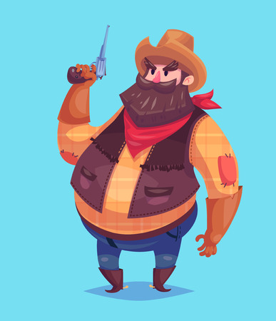 cowboy beard: Funny  illustration of cute cowboy wearing a red bandana, hat and boots. Keep a revolver or a pistol in his hands. Vector cartoon character. Isolated on violet backgound.