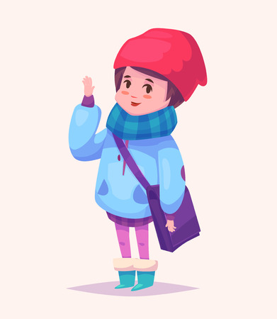 Funny  illustration of cute schoolgirl or student in red hat, blue scarf and green shoes. Vector cartoon character. Isolated on yellow backgound. Illustration