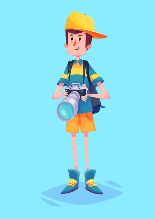 Funny  illustration of cute photographer or tourist with camera and bag. Vector cartoon character. Isolated on blue backgound.