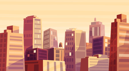 warm house: Vector beautiful sunset over cartoon city. Cityscape with warm sun light.  Cute modern architecture.
