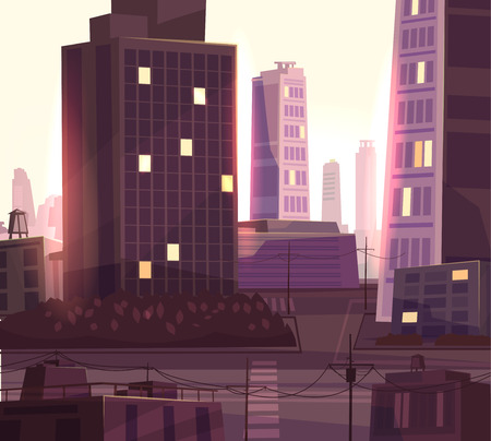 picturesque: Vector beautiful sunset over cartoon city with highway. Cityscape with warm sun light.  Cute modern architecture.