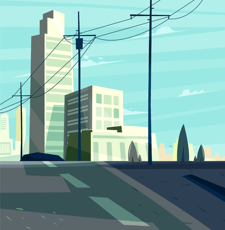 Vector beautiful sunrise over cartoon city with highway. Cityscape with sun light.  Cute modern architecture. Illustration