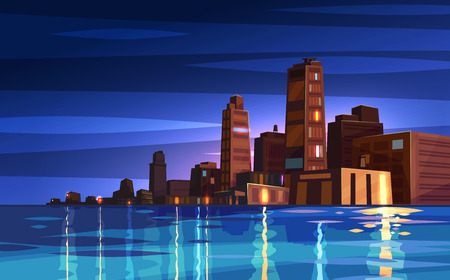 Vector la città del fumetto di bella notte con il fiume o l'oceano. Paesaggio urbano con la luce della luna. Architettura moderna carina. Illustrazione di riserva