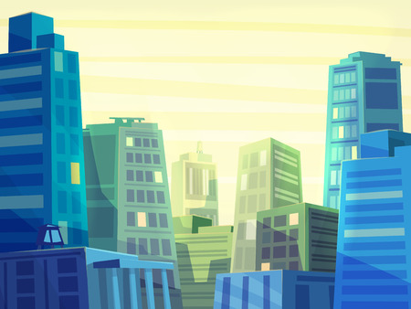 Vector beautiful sunrise over cartoon city with highway. Cityscape with sun light.  Cute modern architecture.  Stock illustration.