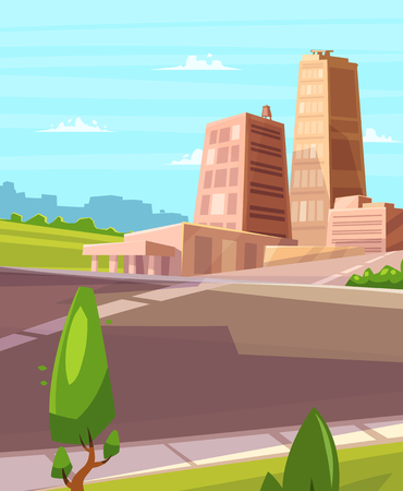 Vector beautiful sunshine over cartoon city with highway. Cityscape with sun light.  Cute modern architecture.  Vector stock illustration.  イラスト・ベクター素材
