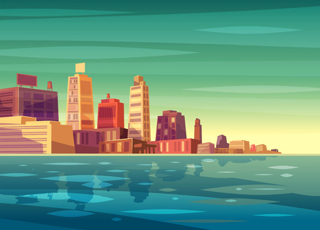 Vector beautiful sunrise over cartoon city with lake, river or ocean. Cityscape with sun light.  Cute modern architecture.  Vector stock illustration.