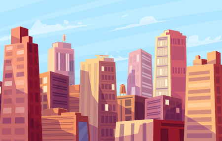 Vector beautiful sunshine over cartoon city. Cityscape with sun light.  Cute modern architecture.  Vector stock illustration.