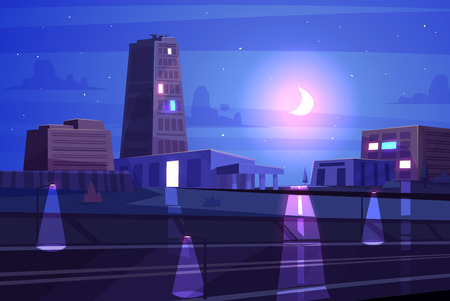 picturesque: Vector beautiful night cartoon city with moon. Cityscape with moon light.  Cute modern architecture.  Stock illustration