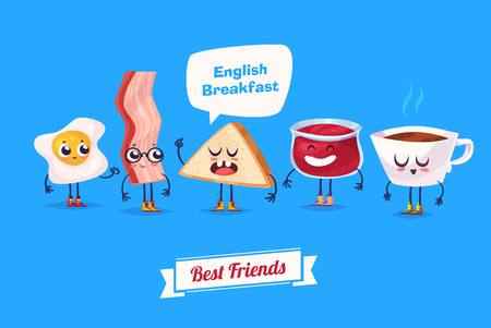 menu background: Breakfast. Funny characters egg bacon bread coffee and jam . Best friends set.