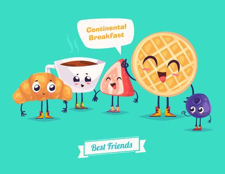 健康的な朝食。変な文字ワッフル果実クロワッサンとコーヒー。面白い食べ物です。