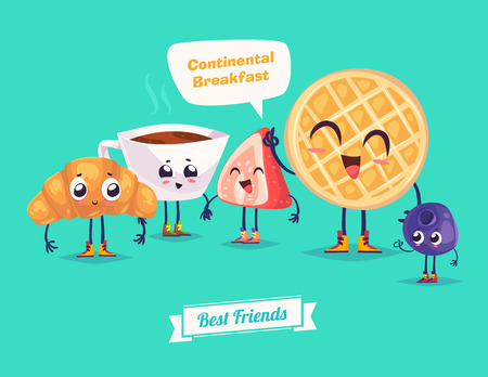Healthy Breakfast. Funny characters waffles berries croissant and coffee. Funny food. Illustration