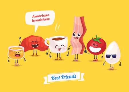 funny food: Healthy Breakfast. Funny characters  egg bacon bread tomato honey and coffee. Funny food.