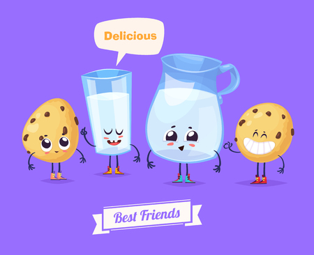 funny cartoon: Best friends. Funny characters milk and cookies. Funny food.