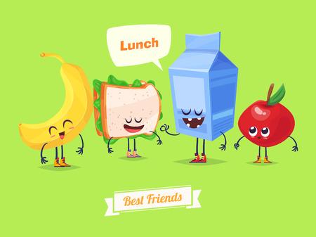 pareja comiendo: Mejores amigos. Caracteres divertidos leche sándwich de plátano y manzana. comida divertida.