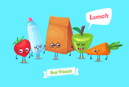 dinner: Best friends. Funny characters carrot water bery bag and apple. Funny food. Illustration