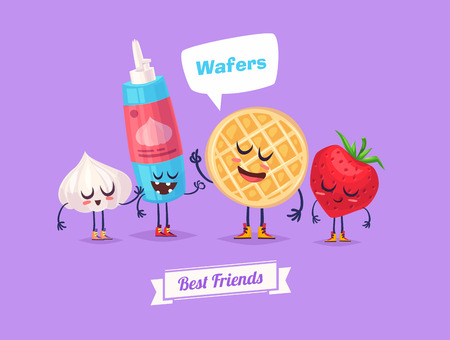 strawberry cartoon: Best friends. Funny characters berry whipped cream and waffle.  Funny food.