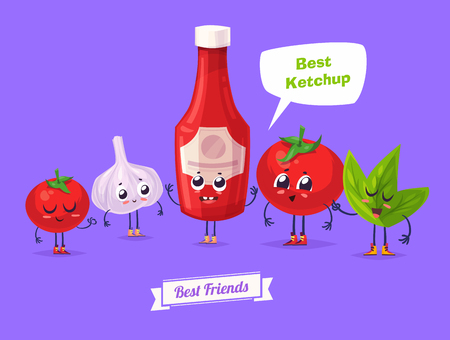 forever: Best friends. Funny characters garlic tomato and bottle of ketchup. Funny food.