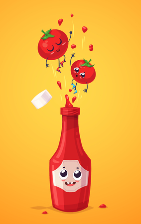 tomatoes: Best friends. Funny characters tomato and bottle of ketchup. Funny food. Illustration