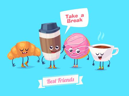 lindo: Desayuno saludable. Caracteres divertidos croissant té donuts y una taza de café. comida divertida. Vectores