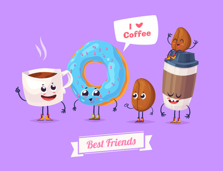 Healthy Breakfast. Funny characters beans donuts tea and cup of coffee. Funny food.