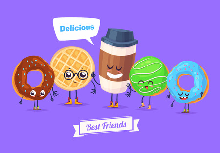Healthy Breakfast. Funny characters set of colored donuts and cup of coffee. Funny food. Illustration
