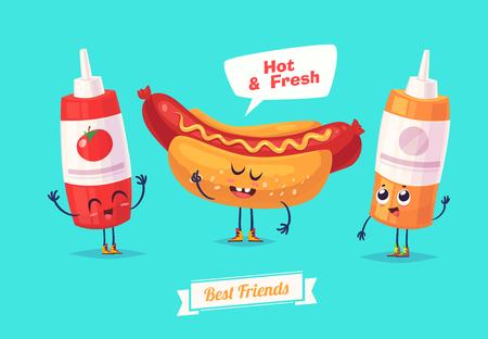 comiendo pan: Desayuno saludable. Caracteres divertidos ketchup y mostaza perro caliente. comida divertida.