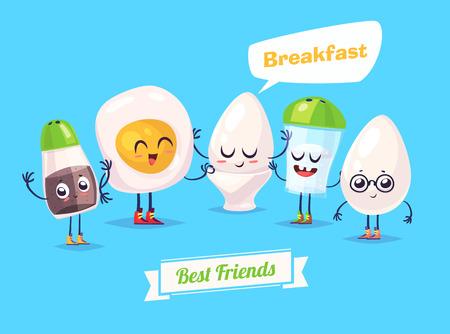 Gezond ontbijt. Grappige personages ei zout peper en omelet. Grappig voedsel. Stock Illustratie