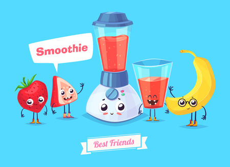 summer cartoon: Healthy Breakfast. Funny characters banana berry and a glass of smoothie. Funny food.